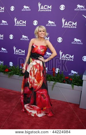 LAS VEGAS - MAR 7:  Carrie Underwood arrives at the 2013 Academy of Country Music Awards at the MGM Grand Garden Arena on March 7, 2013 in Las Vegas, NV