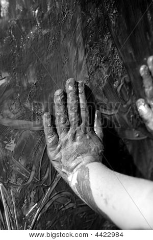 Children Dirty Black Hands, Paint Game