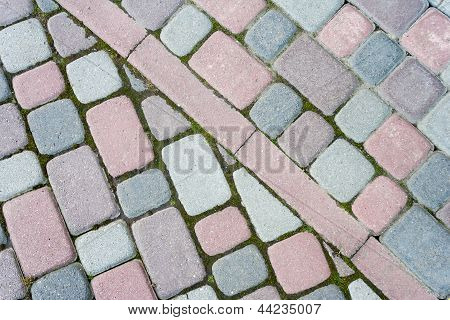Colored Paving Paved At An Angle In The Form Of Steps