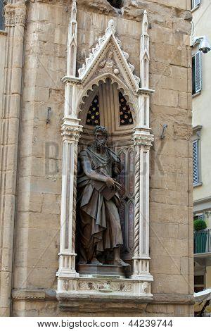 Florence - Church of Orsanmichele. St. Luke staue