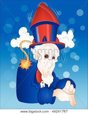 Illustration of Funny Uncle Sam