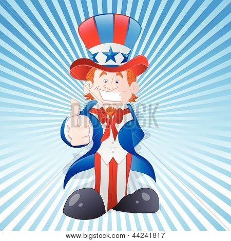 Happy Young Uncle Sam Vector