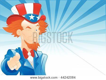Winking Uncle Sam Retro Background