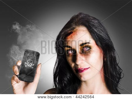Zombie Business Woman Holding Dead Technology