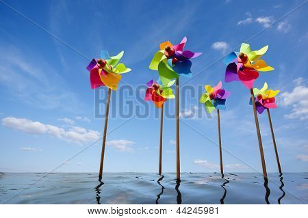 Toy Windmill Concept Of Green Energy Wind Farm