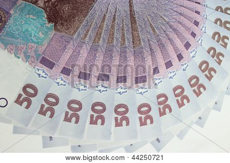 background of the Ukrainian money value of 50 grivnas