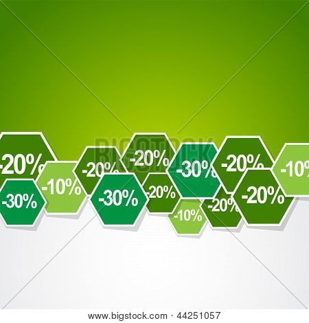 many percentage discount stickers in green background poster