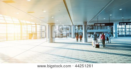the interior of the pudong airport in shanghai china.