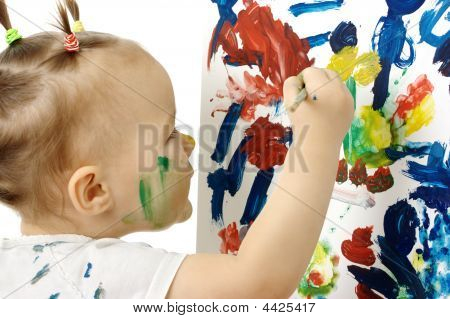 Little Girl Paint On A White Board