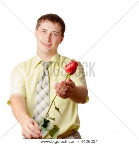 Young Adult Man With Red Rose