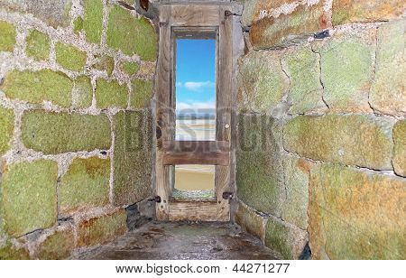 View From Embrasure Of The Fortress Of Mont Saint Michel. Normandy. France