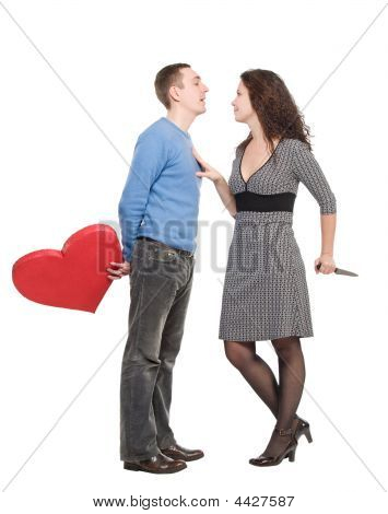 Couple Wiht Red Heart And Knife