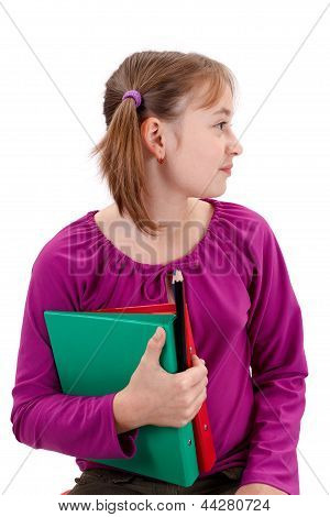 Teenager Pigtailed Girl With Folders And Pencils