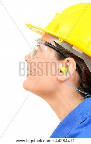 Woman with protective equipment and ear plugs poster