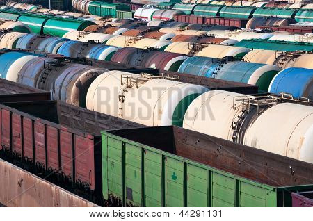 Railway Tanks For Mineral Oil And Other Cargoes At Shunting Yard