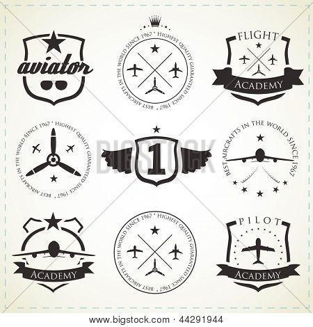 Set of vintage aviation labels - black