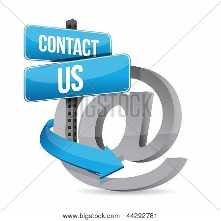 E mail contact us at sign illustration design over white poster