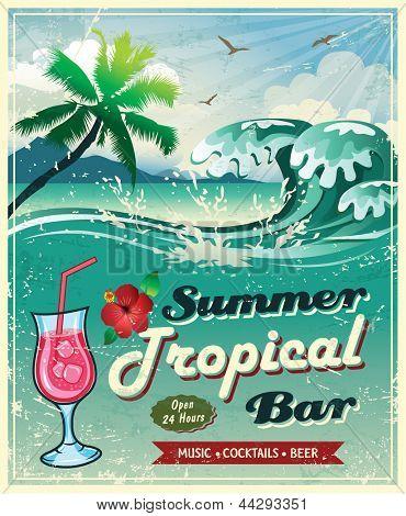 illustration of vintage seaside tropical bar sign