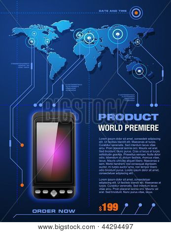 Mobile Cell Smart Phone Telecom Provider Flyer, detailed vector