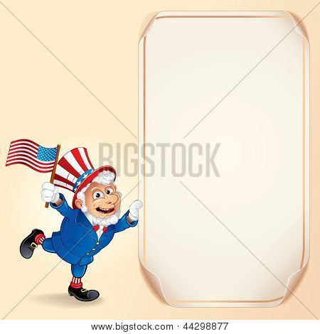 Cartoon Uncle Sam with USA Flag. Background for Fourth of July Celebration.
