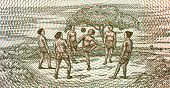 Kids playing football on 5 kyats 1996 banknote from Myanmar poster