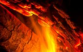 Burning log with flames and glowing embers burning hot. poster