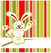 Cartoon happy rabbit on a striped background. Valentines illustration. poster