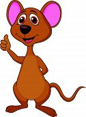 Vector illustration of Cute mouse cartoon thumb up poster