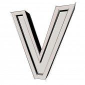 3D sketchy alphabet, letter V isolated on white background poster