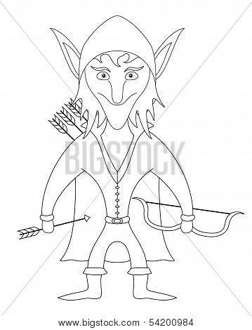 Elf archer, contour