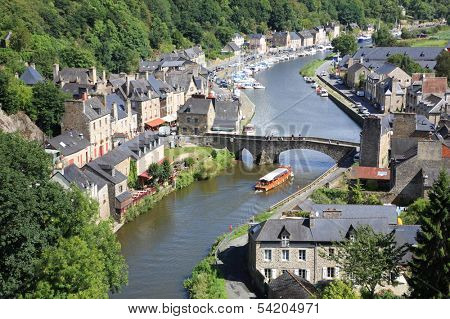 Medieval city of Dinan and its gothic bridge on the Rance, Brittany, France