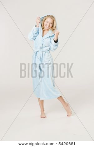 Girl Is Dressed In A Blue Bath-house Dressing-gown