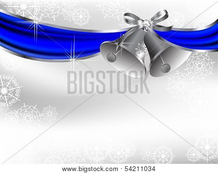 Blue curtain and two luxury silver bells poster