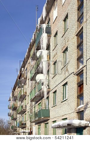 Icicles on balconies