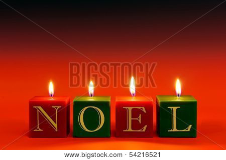 Candles that spell the word NOEL burning against a red graduated background.