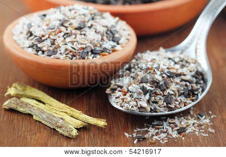 Medicinal Herbs On A Wooden Surface