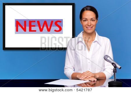 Female Newsreader Presenting The News