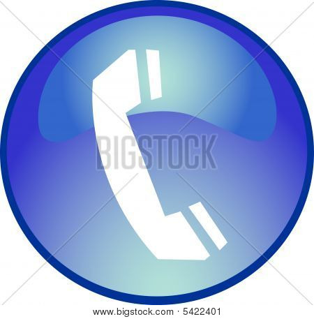 a illustration of a blue phone button poster