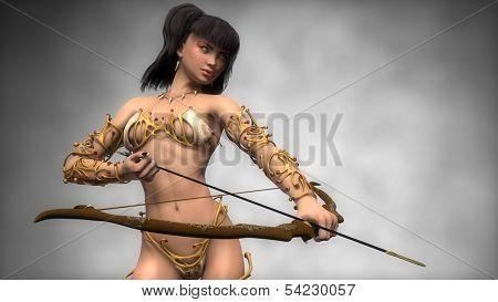 asian fantasy archer girl in gold armor poster