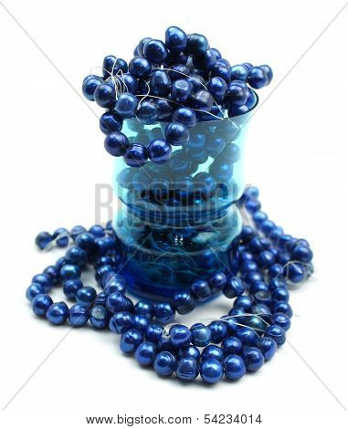 Cobalt Blue Freshwater Pearls In Drinking Glass