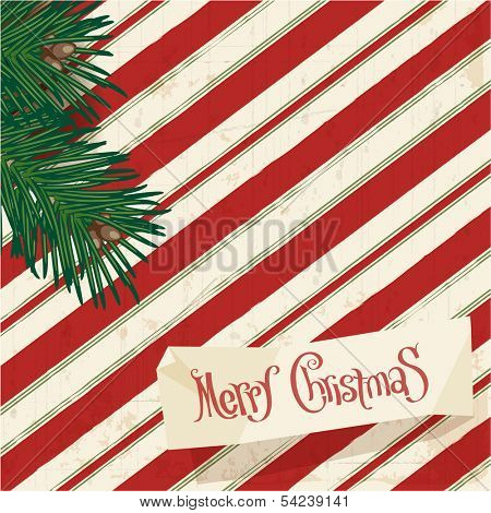 Retro style christmas greeting card. Vector vintage minimalist design. poster
