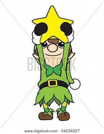 Christmas Elf Boy Holding Star