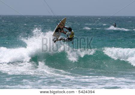 Kitesurfer In Spain Championship Kitesurf 2009 Lanzarote Island In Lan