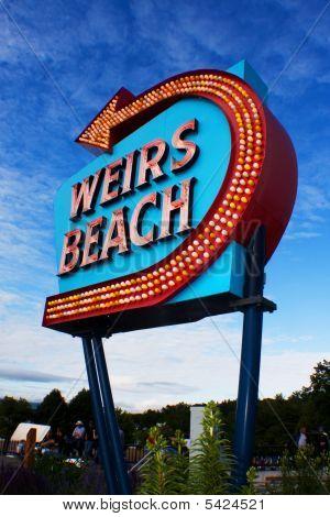 Weirs Beach Sign Day Vertical