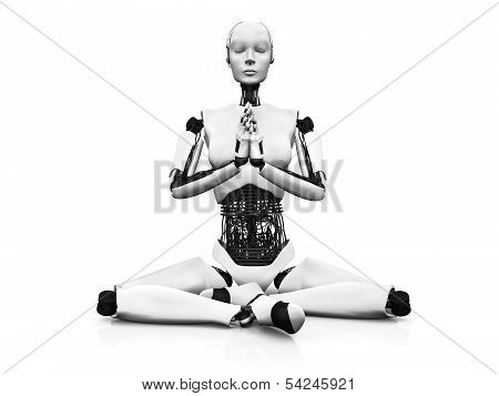 Robot Woman Meditating.