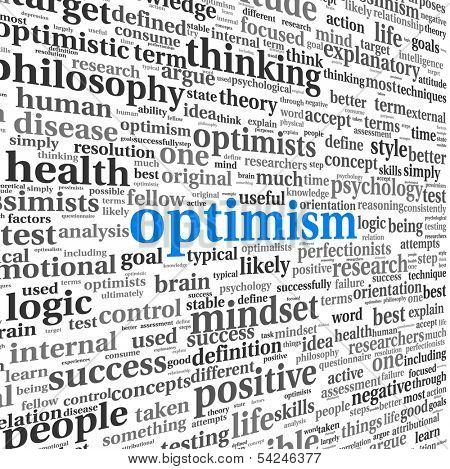 Optimism concept in word tag cloud isolated on white