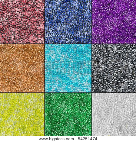 Set of multicolor glass and metallic beads poster