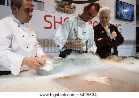 Liquid Nitrogen Cooking At Golosaria 2013 In Milan, Italy