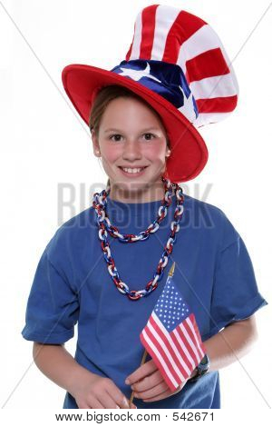 Patriotic Young Girl With Flag