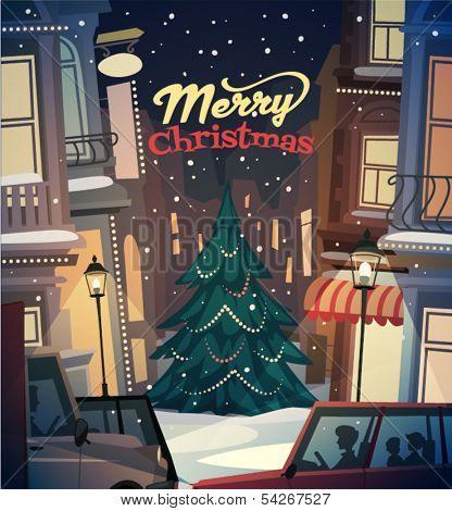 City background. Merry Christmas illustration.